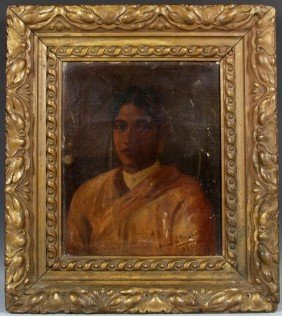 Early 20th C. Pershad O/C Portrait Of Maharasha