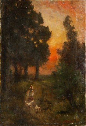 Richet, Woman With Ducks At Sunset, O/C