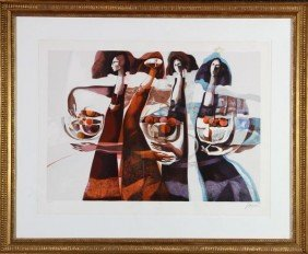 Baques, 4 Women, Embossed Chromolithograph