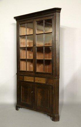 19th C. Mahogany Corner Cupboard