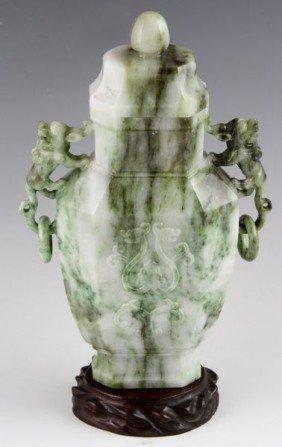 20th C. Chinese Carved Jadeite Jar