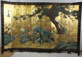 Chinese 20th C. Eight-Panel Screen