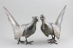 Pair Of Sterling Silver Pheasants
