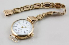 F. Winter Yellow Gold Pocket Watch And Chain