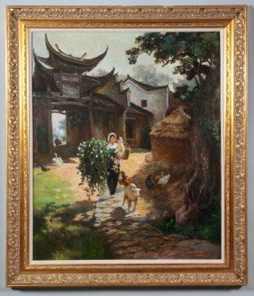 Chinese 20th C. O/C Painting, Ma Zuxi