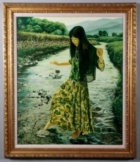Chinese 20th C. O/C Painting, Cao Hui