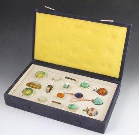 Chinese Qianlong Period Set Of Semi-Precious Sto