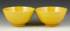 Pair Of Chinese Yellow Glazed Bowls