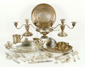 Lot Of Silver Flatware And Hollowware