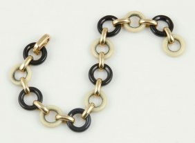 14k Yellow Gold And Enamel Bracelet