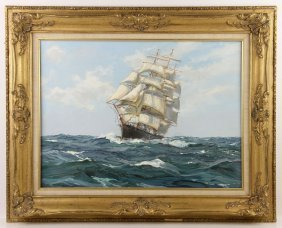 Vickery, Sailing Ship, Oil On Canvas