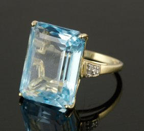 14k Yellow Gold, Aquamarine And Diamond Ring