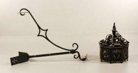 Early 20th C. Wrought Iron Sconce Light