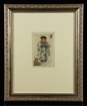 Hyde, Child In Kimono, Woodblock Print