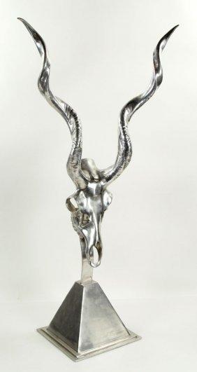 Aluminum Antelope Skull Sculpture