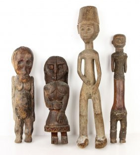 4 Antique Carved African Figures
