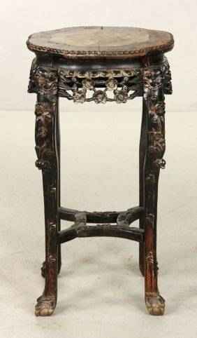 19th C. Chinese Carved Rosewood And Marble Stand