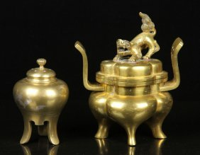 Two Chinese Antique Bronze Censers