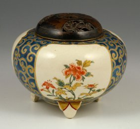Japanese Satsuma Tripod Porcelain Censer