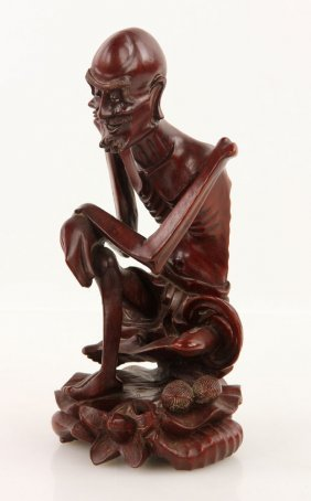 Carved Chinese Hardwood Luohan Figure