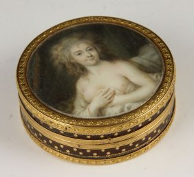Early 19th C. French Hand Painted Gold Box