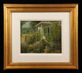 Cooper, House With Gardens, Oil On Panel