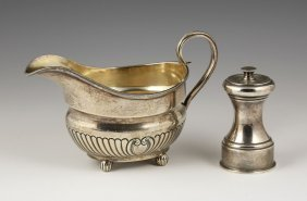 English Sterling Gravy Boat And Pepper Mill
