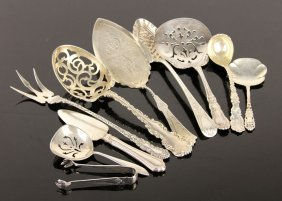 Group Of Ten Sterling Serving Pieces
