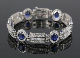 Ladies' 14k Gold, Sapphire And Diamond Bracelet
