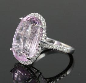 14k Gold, Kunzite And Diamond Ring