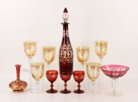 Collection Of Ruby Bohemian Glass