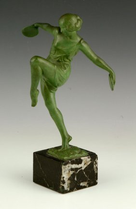 Fayral, Art Deco Sculpture Of A Woman, Metal