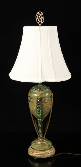 French Champleve Lamp
