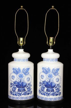 Pr. Delft Style Table Lamps