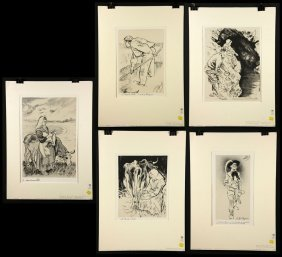 Legrand, (french, ?–1994), Lot Of 5 Lithographs