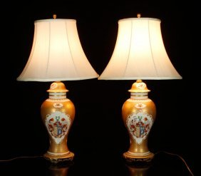 Pr. Chinese Armorial Lamps