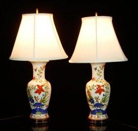 Pr. Floral Porcelain Lamps
