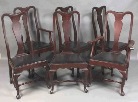 Set Of Six 19th C. Queen Anne Style Chairs