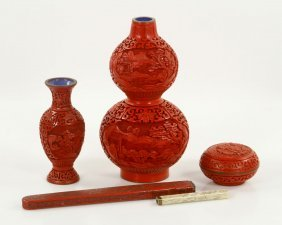 Lot Of Chinese Red Lacquer Cinnabar