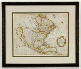 Engraved Hand-colored Map Of North America
