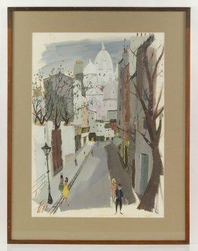 Levier, Paris Street Scene, Watercolor