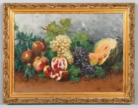 "Cocco, ""still Life With Fruit,"" Oil On Canvas"