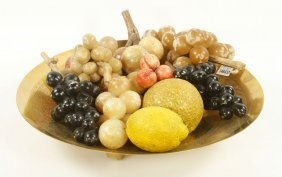 Brass Bowl With Carved Stone Fruit