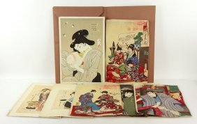 19th To 20th C. Folio Of Japanese Prints