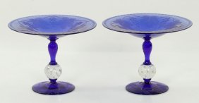 Pairpoint Cobalt Cut Glass Compotes