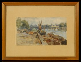 """Brown, """"along The Seine,"""" Watercolor"""