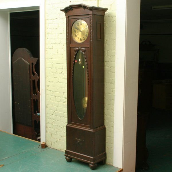 1061: Early 1900u0026#39;s German Grandfather clock, heavy bras : Lot 1061