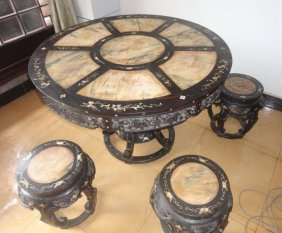 Rosewood Inlaid Marble Shell Roundtable Special Treatme