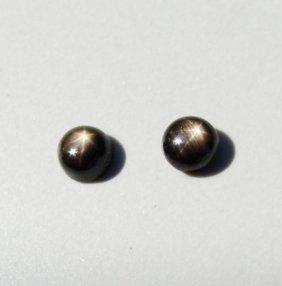 Natural Black Star Sapphire Pairs Round Cabochon 2.40ct