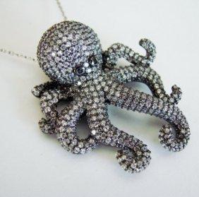 Creation Diamond Octopus Pendant 4.56ct 18k R/g Overlay